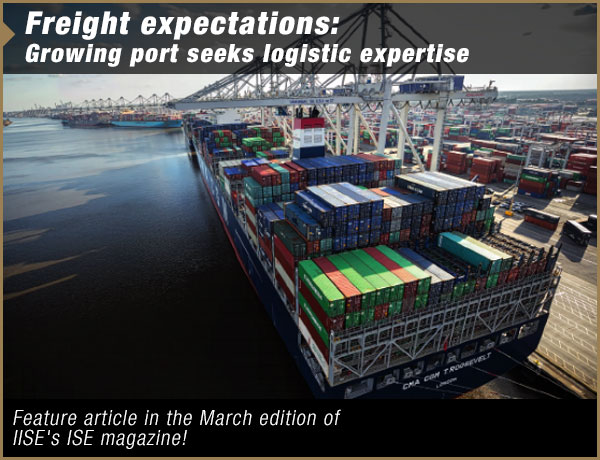 Ship in Savannah harbor with link to full article within IISE website