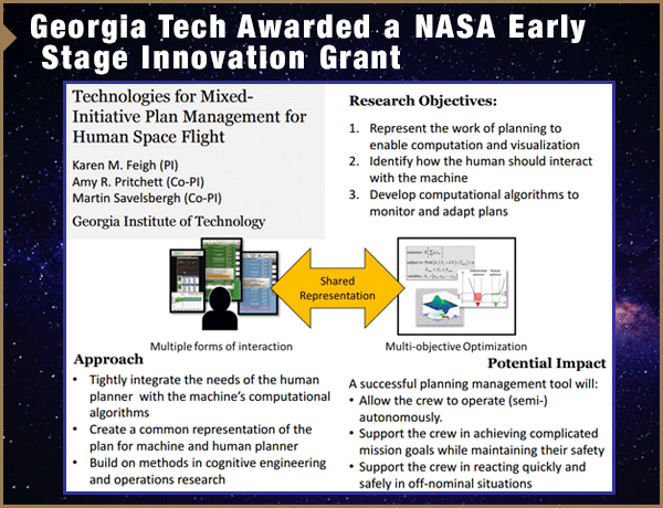 Georgia Tech Awarded NASA Early Stage Innovation Grant
