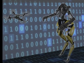 Photo of drone and humanoid-like robot used in research laboratory