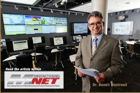 Photo of Dr. Benoit Montreuil with link to Manufacturing.net article