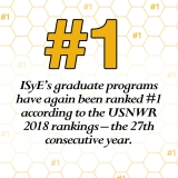 ISyE's graduate programs are once again ranked No. 1 by USNWR.
