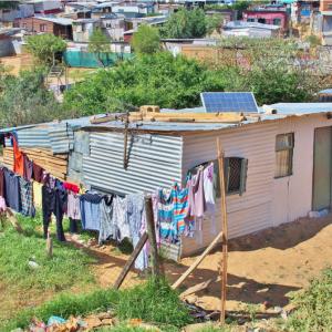 African Village Utilizing Solar Panels