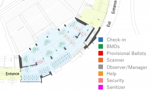 A map showing McCamish Pavilion with optimal equipment allocated for high voter turnout