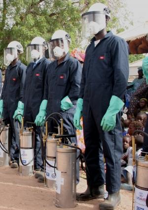Spraying to prevent malaria