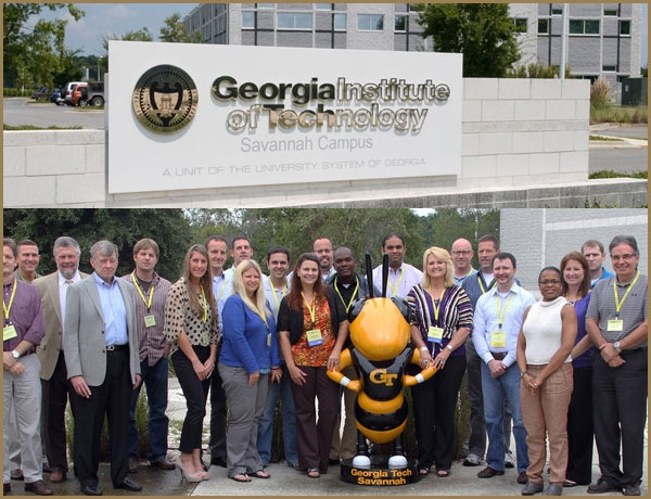 Photo of GT Savannah campus sign and student attending GTSCL course