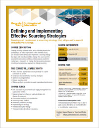 Download the Defining and Implementing Effective Sourcing Strategies course flyer