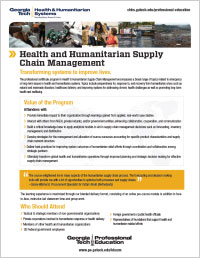 Download the Health and Humanitarian Supply Chain Management course series flyer