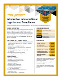 Download the Introduction to International Logistics and Compliance course flyer