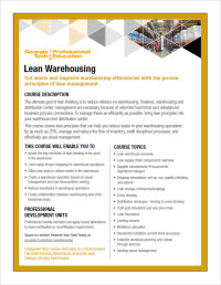 Download the Lean Warehousing course flyer