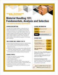 Download the Material Handling 101: Fundamentals, Analysis and Selection course flyer
