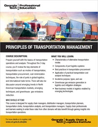 Download the Principles of Transportation Management course flyer